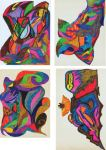 Jimi Hendrix, four original psychedelic abstract drawings